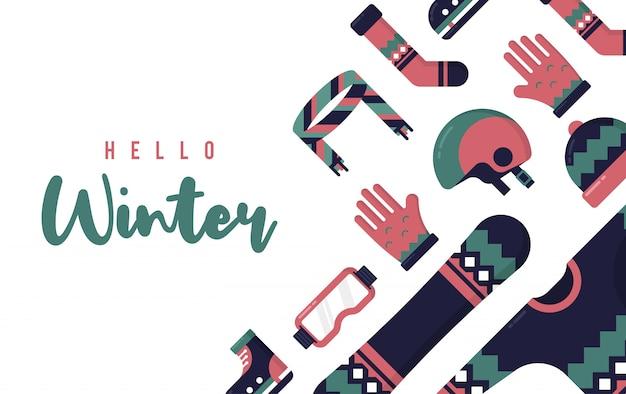 Hola ilustración de invierno con vector plano
