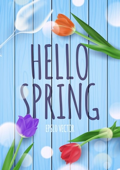 Hola ilustración de saludo de primavera