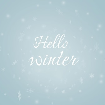 Hola ilustración vector plantilla invierno con copos nieve letras hermosas