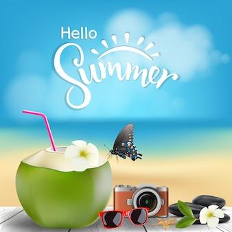 Hola ilustración de verano, cóctel de coco en el suelo de madera con playa de verano