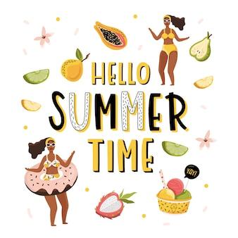 Hola ilustración de verano con niña y letras.