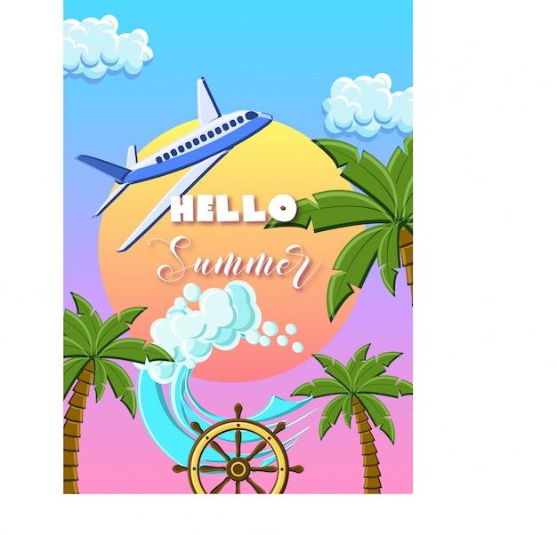Hola ilustración de verano con palmeras, avión, olas oceánicas, rueda de barco, en el cielo del atardecer.