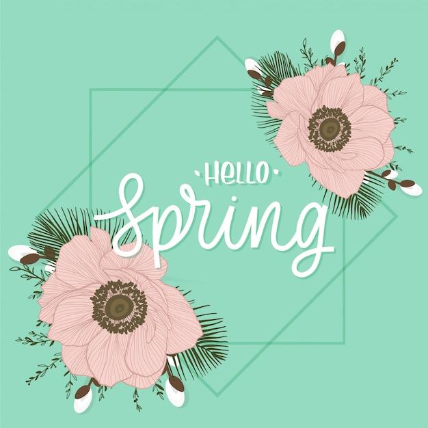 Hola inscripción de letras de primavera con flores. tarjeta de amor con amapolas.