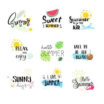 Hola insignia de verano establece etiqueta de diseño tipográfico aislado, letras de vacaciones de temporada para logotipo, plantillas, invitación, tarjeta de felicitación, impresiones y carteles.