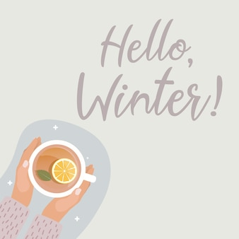 Hola, invierno, concept., mano, con, taza de té caliente