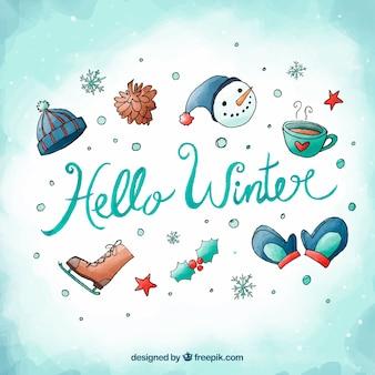 Hola invierno fondo de acuarela con atributos invernales