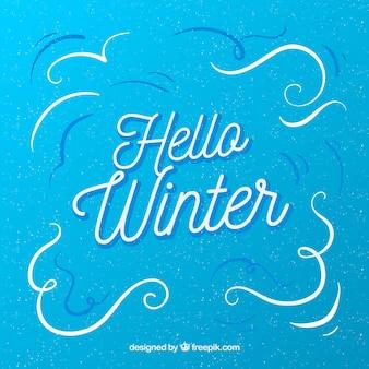 Hola invierno fondo azul simple
