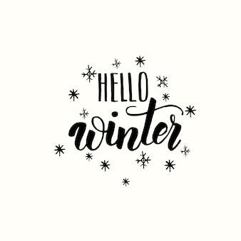 Hola invierno, frase de caligrafía de letras.
