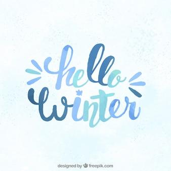 Hola invierno en letras en tonos azules