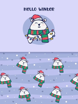 Hola invierno oso polar regalo festivo de navidad