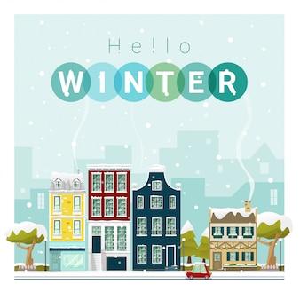 Hola invierno paisaje urbano de fondo