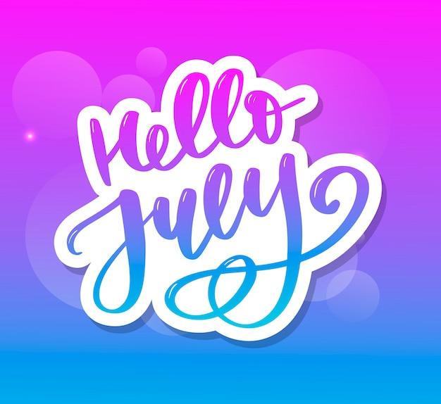 Hola julio letras de impresión. ilustración minimalista de verano