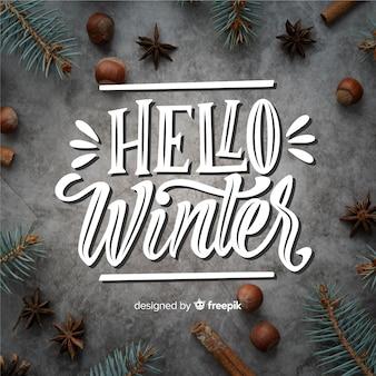 Hola letras de concepto de invierno
