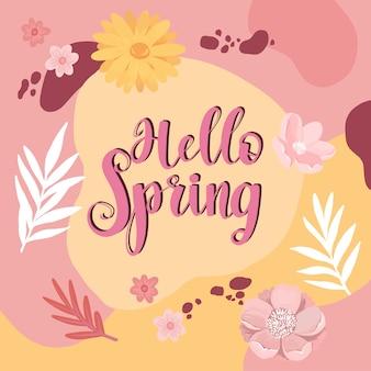 Hola letras florales de primavera con decoración