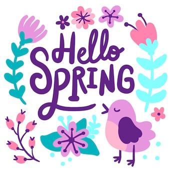 Hola letras de fondo de primavera
