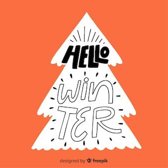 Hola letras de invierno con un árbol de navidad blanco