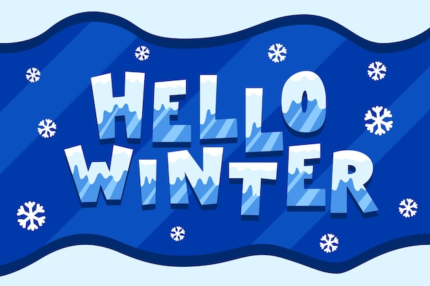 Hola letras de invierno con copos de nieve alrededor