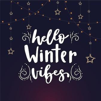 Hola letras de invierno con estrellas