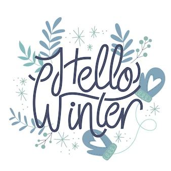 Hola letras de invierno con hojas