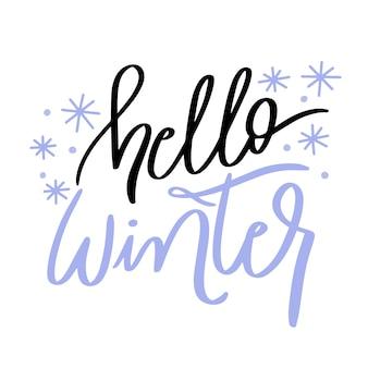 Hola letras de invierno con lindos copos de nieve pequeños