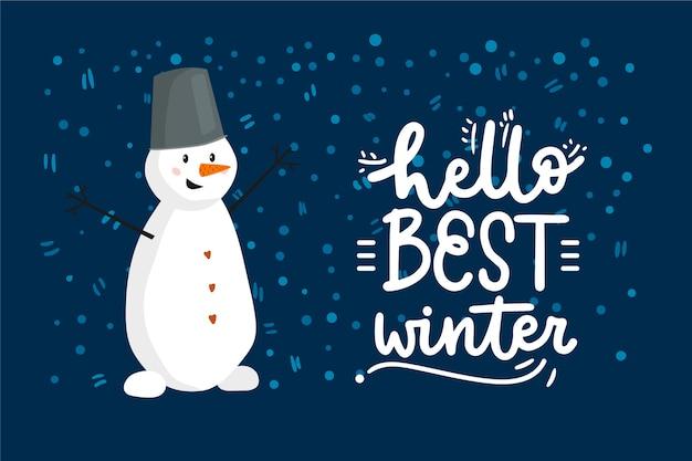 Hola letras de invierno con muñeco de nieve
