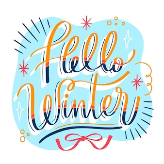 Hola letras de mensaje de invierno