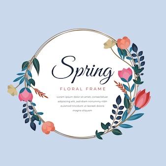 Hola letras de primavera en círculo marco floral