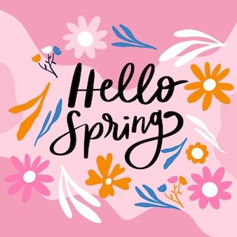 Hola letras de primavera con decoración colorida