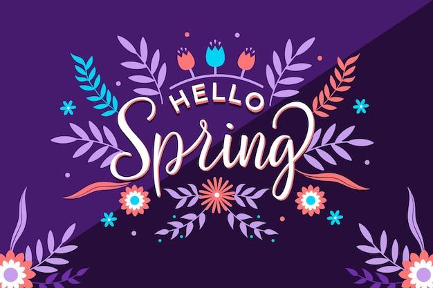 Hola letras de primavera con decoración floral colorida