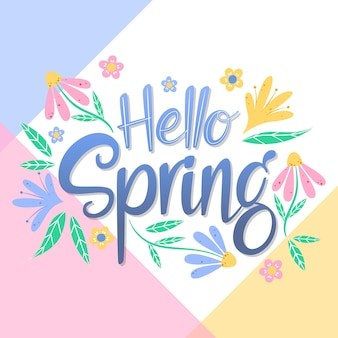 Hola letras de primavera con decoración floral