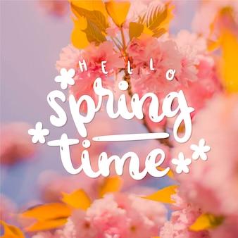 Hola letras de primavera con diseño fotográfico