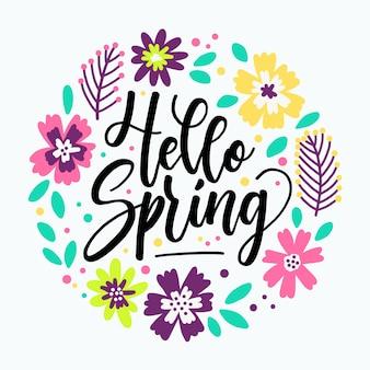 Hola letras de primavera con flores