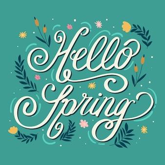 Hola letras de primavera en fondo verde