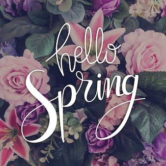 Hola letras de primavera con foto