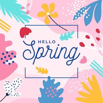 Hola letras de primavera con hojas coloridas