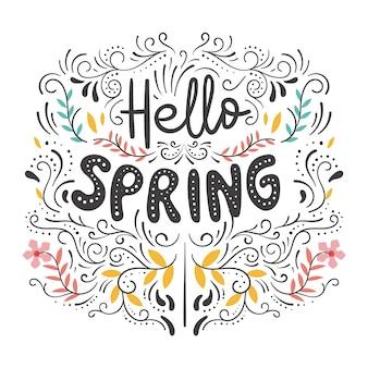 Hola letras de primavera con líneas curvas