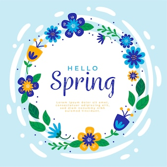 Hola letras de primavera con marco floral azul