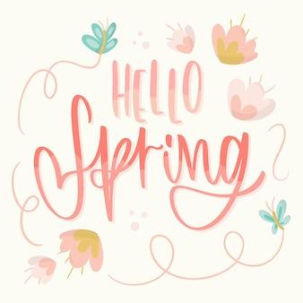 Hola letras de primavera con mariposas y flores
