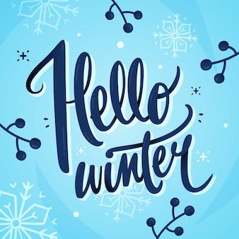 Hola letras de texto de invierno