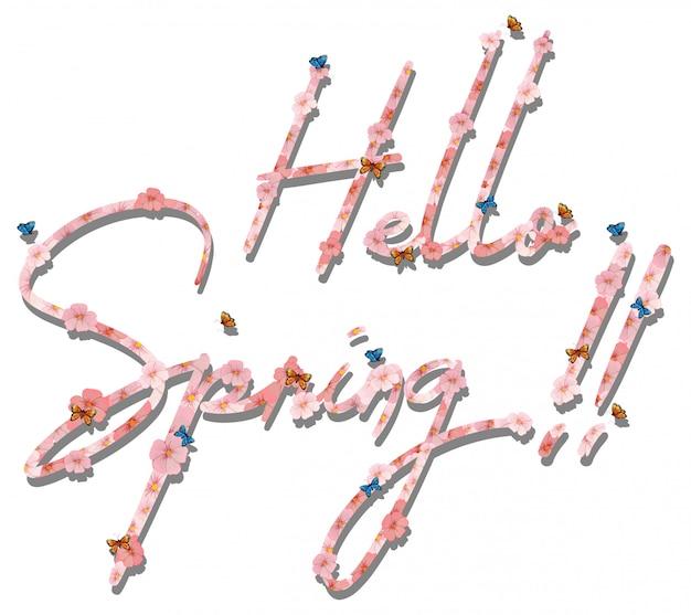 Hola letras de texto de primavera
