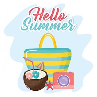 Hola letras de verano con elementos de vacaciones