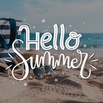 Hola letras de verano con foto