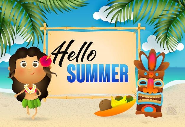 Hola letras de verano con mujer aborigen y máscara tribal.