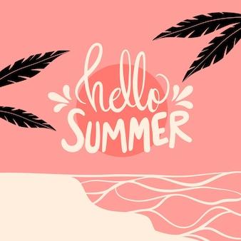Hola letras de verano con palmeras