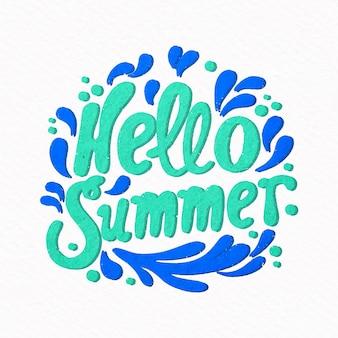 Hola letras de verano con salpicaduras de agua