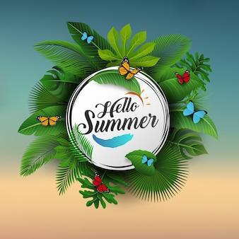 Hola letrero de verano con hojas tropicales y fondo azul.