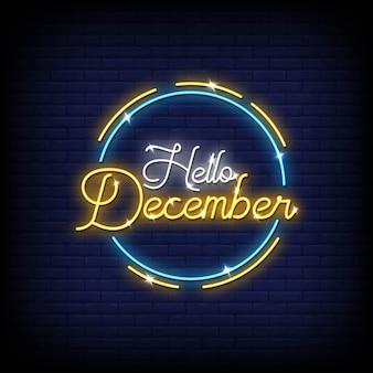 Hola letreros de neón de diciembre