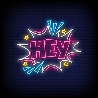 Hola letreros de neón estilo texto