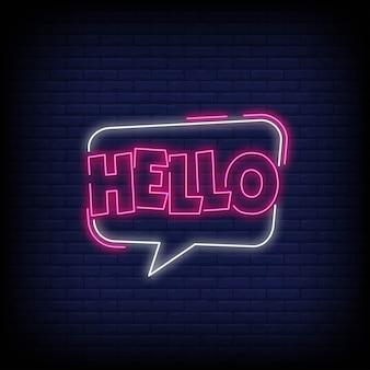Hola en letreros de neón