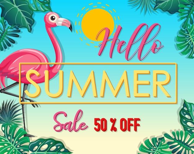 Hola logo de venta de verano con banner de hojas tropicales